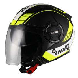Unik casco moto Jet CJ11 Wolf gafa solar