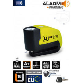 URBAN SECURITY Candado disco con alarma modelo UR6