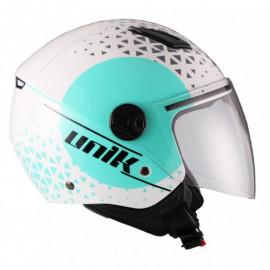 Unik casco moto jet CJ16 Oracle azul turquesa